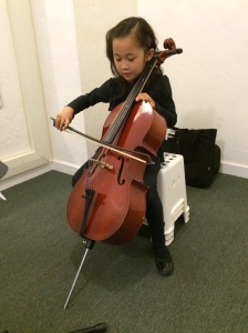 6 yr old Chloe on cello after 2 months
